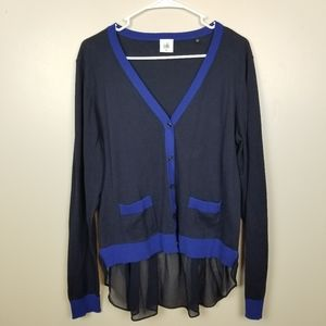 CAbi Navy Button Down Lightweight Sweater size L